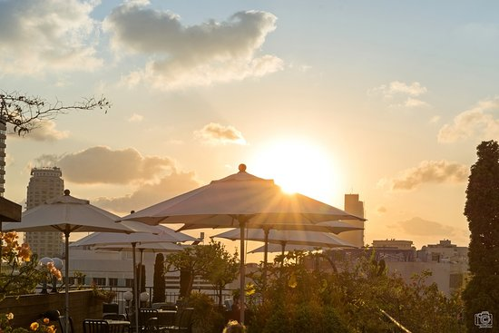 Center Chic Hotel Tel Aviv - an Atlas Boutique Hotel: Sundown auf der Dachterrasse