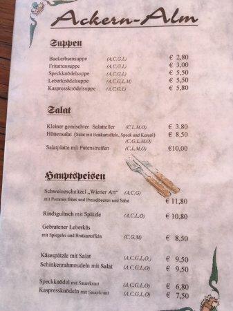 Thiersee, Austria: Speiseangebot