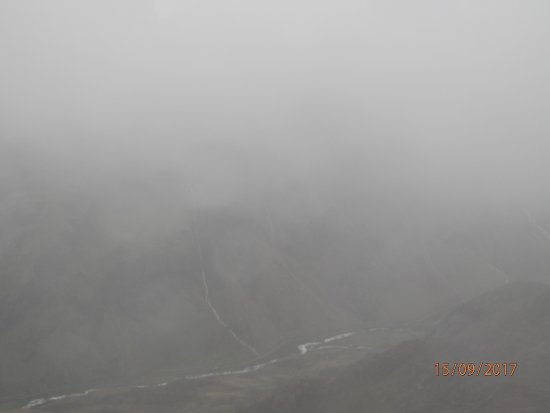 Llanberis, UK: The view from Snowdon summit on a wet day