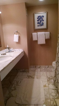 Irving, TX: Nice size bathroom with lots of space around single sink
