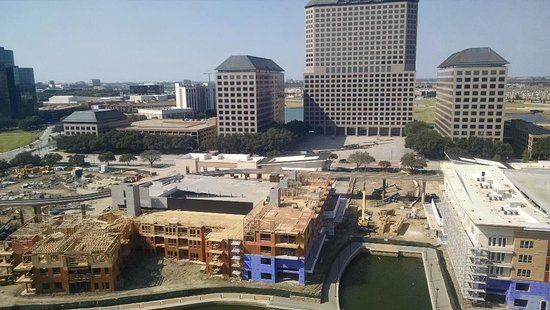 Irving, TX: Lake Carolyn, construction and Mustangs in the background
