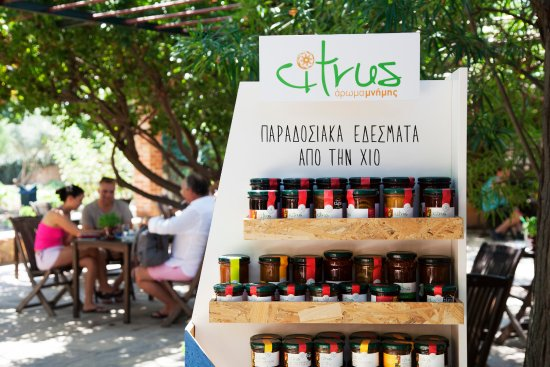 Chios Town, กรีซ: Citrus products - stand
