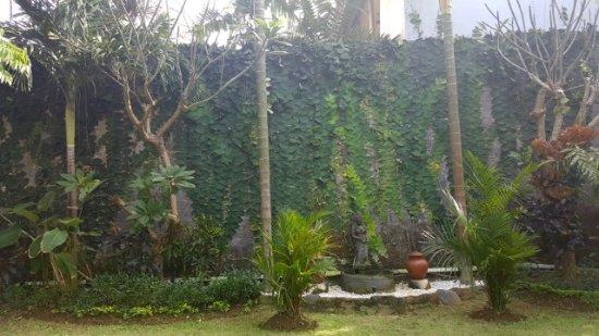 Satriya Cottages: 'The wall' as you walk along main entry walkway