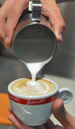 Moravska Trebova, Czech Republic: This is how we do it! ...cappuccino with latte art.