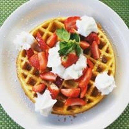 Juno Beach, FL: Belgian Waffle with Strawberries & Whipped Cream