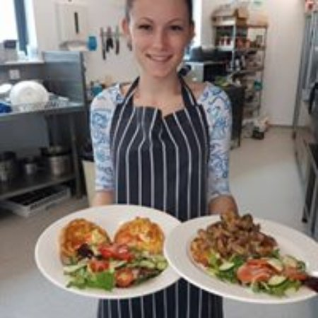 Brackley, UK: Alina serving food at The Flight Deck Cafe