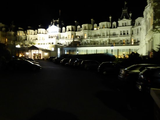 The Grand Hotel Eastbourne: A night shot of the Grand from the car park