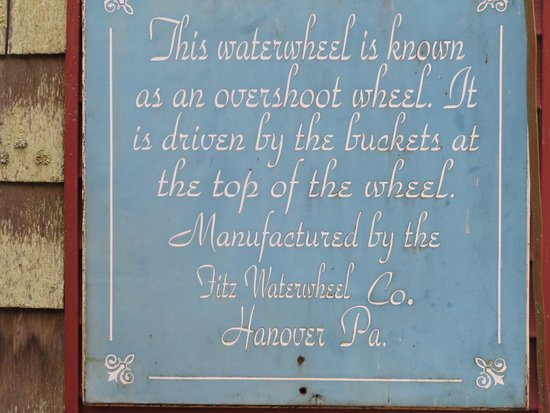 Warm Springs, VA: Historic Sign about the signature Waterwheel