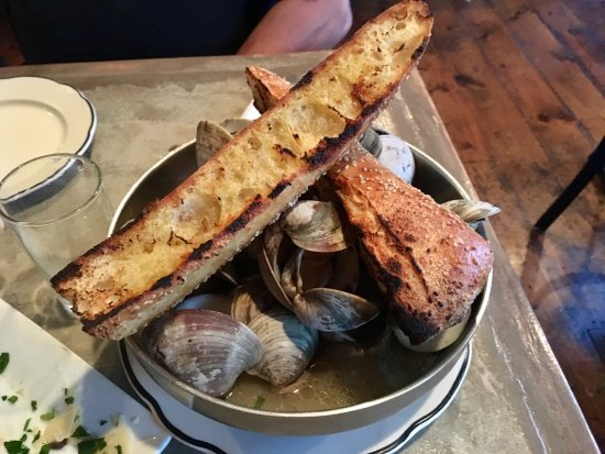 Greenwood Lake, NY: Steamed Clams in IPA Broth with Pork Belly & Herbs