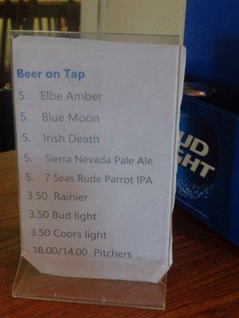 Elbe Bar & Grill: Beer list - Irish death???