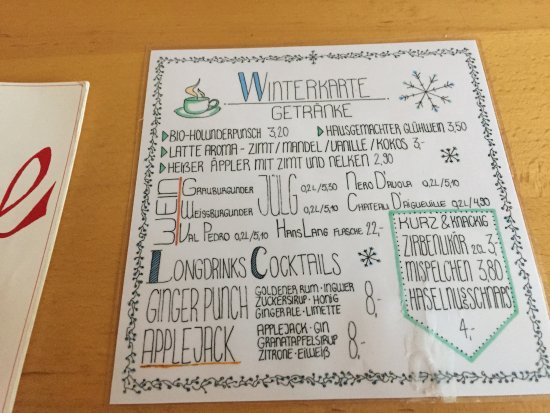 Winter drink menu during Christmas Market season - Picture of ...