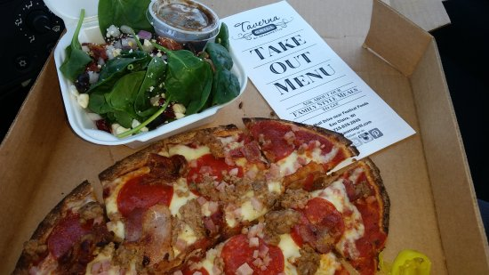 Eau Claire, WI: Sicilian Spinach Salad and Meat Lover Flatbread Pizza; carryout.