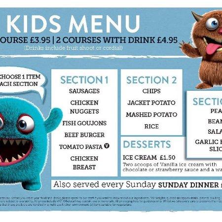 Westbury, UK: Kids menu