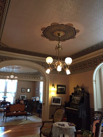 Penn Yan, NY: Double parlor with beautiful Bradbury & Bradbury Victorian wallpaper