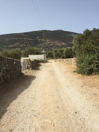 Villa Antoniadis: Small road to Hotel. Just a quick walk 5 min walk to beach, restaurants, and shopping