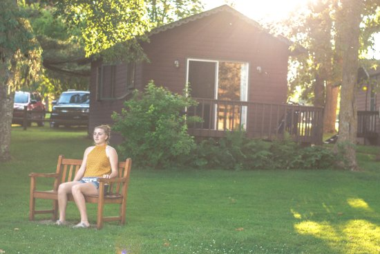 Deerwood, MN: Enjoying the view from a lakeside cabin
