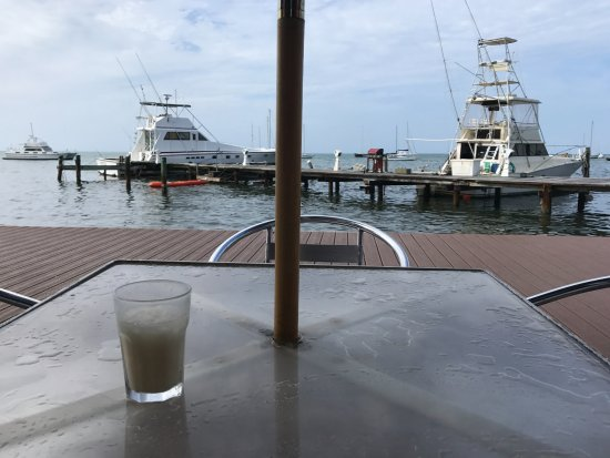 Angry Nate's: Enjoying a Painkiller and the view.