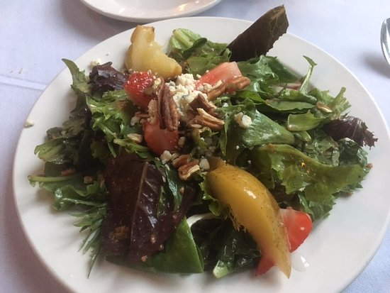 Sewanee, TN: Poached pear salad with Shakerag blue cheese
