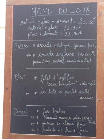 Le Vauban: Menü-Tafel