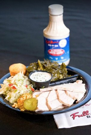 Alabaster, AL: Hickory smoked turkey plate with tangy coleslaw and collard greens.