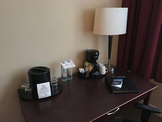 Expensive Coffee Maker Reviews : Little desk with Coffee maker and expensive water... - Picture of Harrison Hot Springs Resort ...