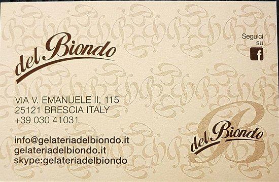 Gelateria Del Biondo Carte De Visite Avec Coordonnees