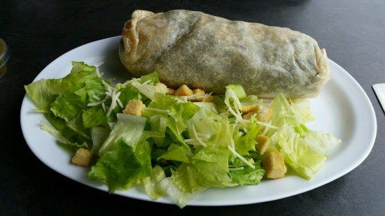 Monrovia, CA: Shrimp burrito with Caesar salad, no Caesar dressing