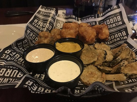 Franklin, WI: Sampler with brat bites, fried pickles, and curds