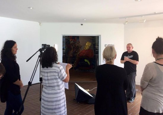Hastings City Art Gallery: Filming a gallery welcome in New Zealand Sign Language with Lee Bullivant from Deaf Hawke's Bay.
