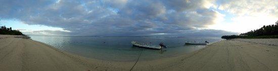 Tongatapu Island, Tonga: Panorama shot of beach front & fishing boats