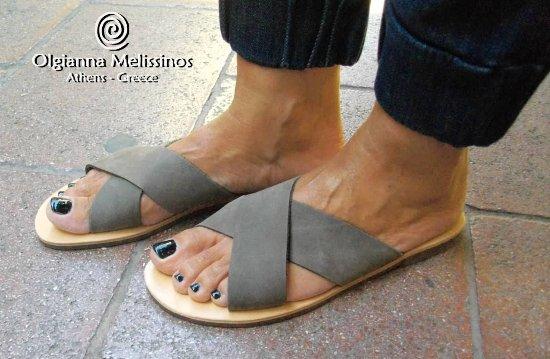 Handmade Olgianna Grey Greek Sandals Chi Melissinos sQdCthr