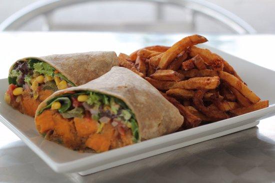 Saint Albans, VT: Vegetarian Sweet Potato Wrap! Delicious!