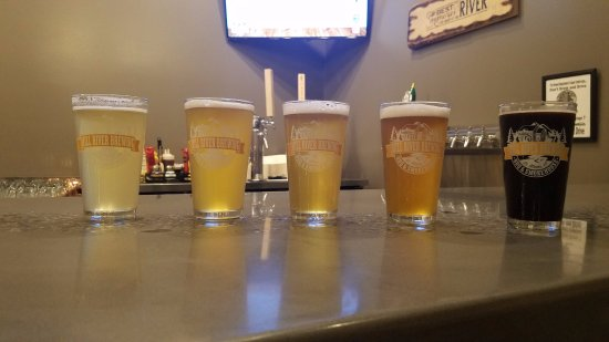 Saint Albans, VT: The variety of Beers offered at Mill River Brewing, including 2 wheat ales, pilsner, IPA and Sto