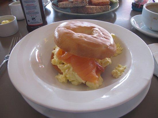Clevedon, UK: Scrambled egg and smoked salmon bagel.