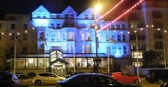 The Empress Hotel at night.