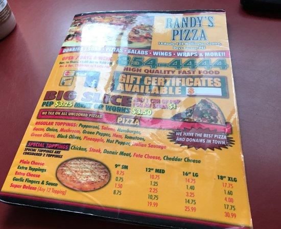Wellington, Canada: RANDY'S PIZZA MENU
