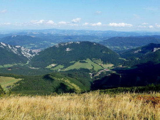 Terchová, Slovensko: View to the Vratna Valley, in the middle of the picture the Boboty massif