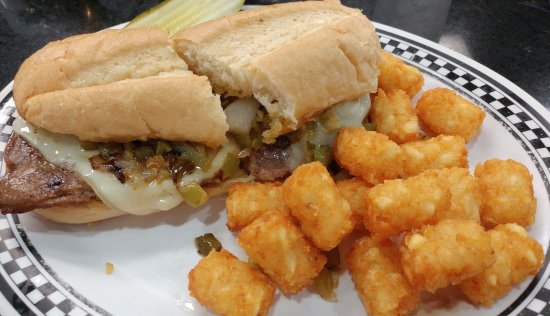 Sharon Springs, KS: Philly cheese steak with tots