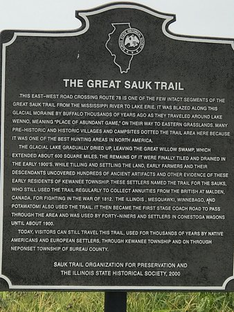 Kewanee, IL: Historical plaque about the Sauk trail