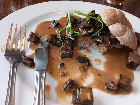 Capel Curig, UK: mushroom and black pudding starter - lovely