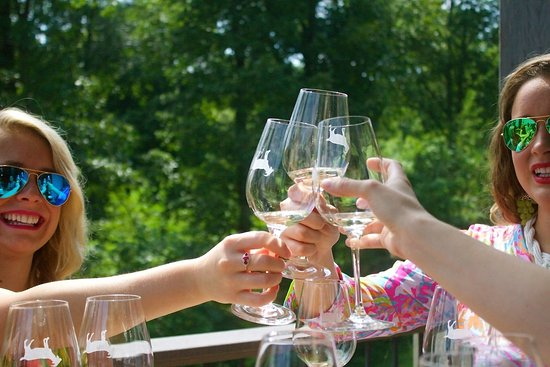 Jasper, GA: Cheers with your friends on the large top deck at Fainting Goat Vineyards.