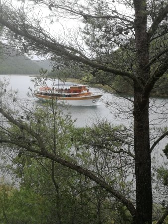 Track from Skradin to the falls - and a tour boat heading up river