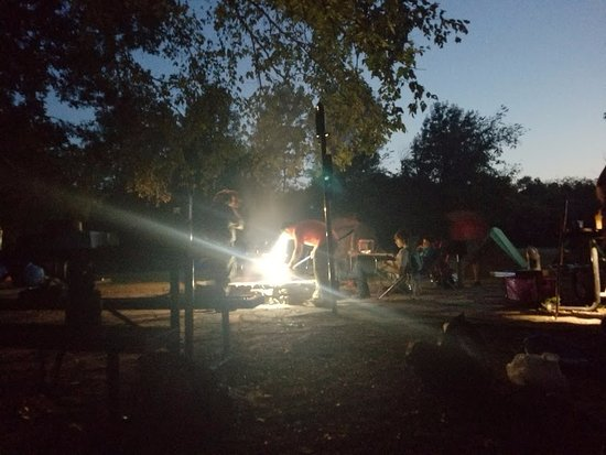 Marshall, AR: night time around the campfire
