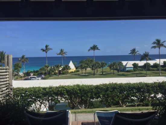 Elbow Beach, Bermuda: The cabana from inside and porch view of the beach.