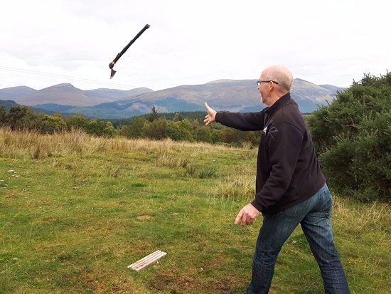 North Ballachulish, UK: Tomahawk throwing.