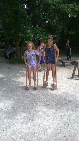 Fishers, IN: Trying out stilts in Prairietown