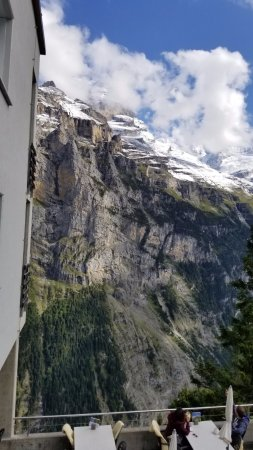 Hotel Edelweiss: View up valley from our terrace, looking over outdoor dining area