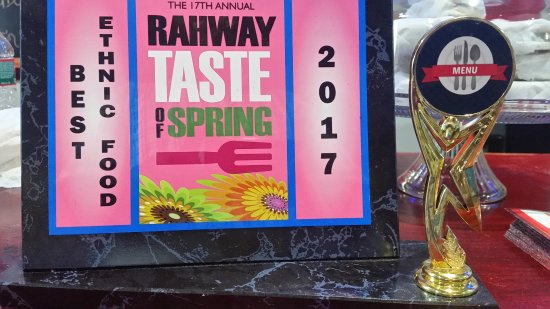 2017 Award we received by the town of Rahway as Winner of best Ethnic Food