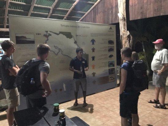 Playa Samara, Costa Rica: Turtle Tour introduction at Camaronal Beach pavilion.
