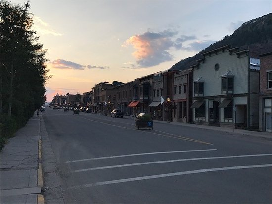 Telluride's Main Street at Sundown from the entrance to the Telluride City Park